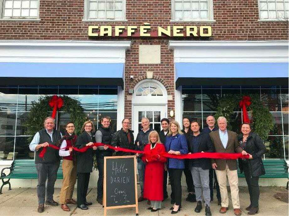 Town officials joined the team at Caffe Nero for a ribbon cutting ceremony to commemorate the opening. Photo: Contributed Photo