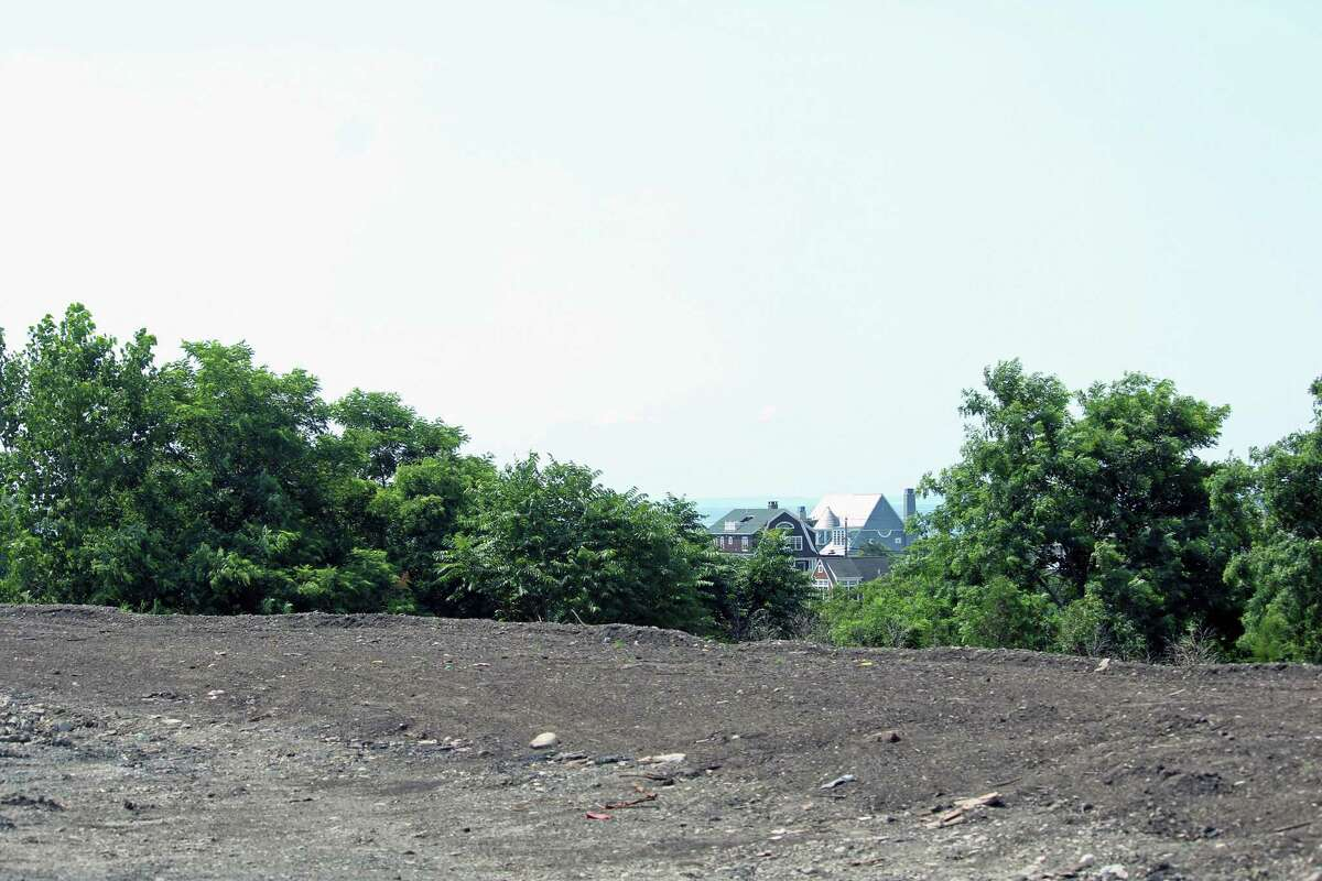 The view from atop the new landscaped berm built to block the view of the town's fill pile. Fairfield,CT. 7/11/18