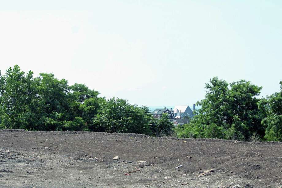 The view from atop the new landscaped berm built to block the view of the town's fill pile. Fairfield,CT. 7/11/18 Photo: Genevieve Reilly / Hearst Connecticut Media / Fairfield Citizen