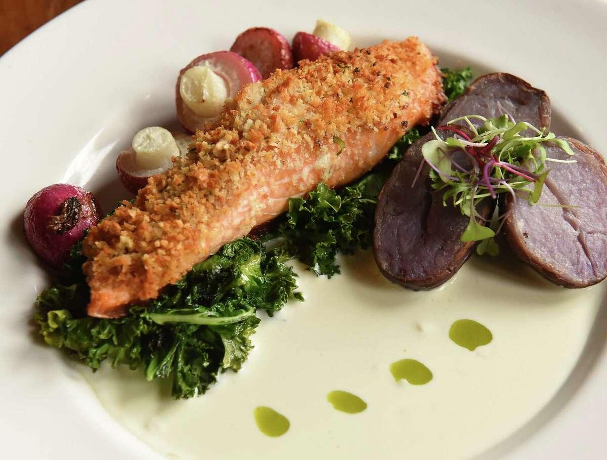 Panko and peanut crusted Faroe Island salmon, organic miso-honey glaze, roasted potatoes, seasonal vegetables, yuzu cream at Vanderbilt Lakeside on Thursday, Dec. 20, 2018 in Philmont, N.Y. (Lori Van Buren/Times Union)