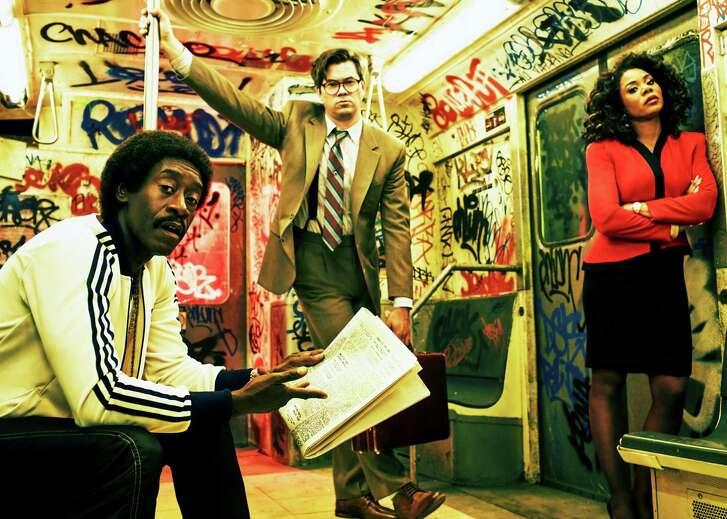 """""""Black Monday."""" Don Cheadle plays flamboyant stockbroker """"Mo"""" and Andrew Rannels and Regina Hall are his partners Blair and Dawn in this '80s set comedy."""