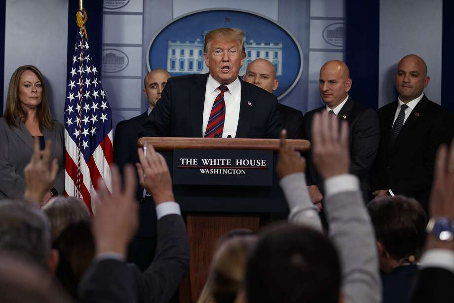 President Donald Trump speaks to reporters about border security in the briefing room of the White House. Click through the gallery for reactions. Photo: Evan Vucci, Associated Press
