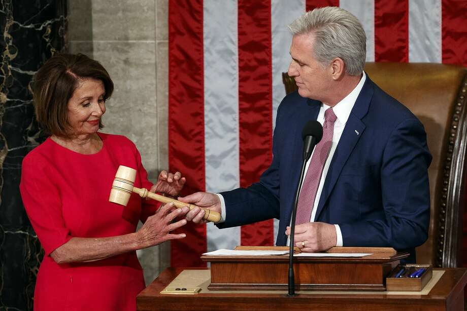 Nancy Pelosi of California takes the gavel from House Minority Leader Kevin McCarthy, R-Calif., after being elected House speaker at the Capitol in Washington, Thursday, Jan. 3, 2019.  (AP Photo/Carolyn Kaster) Photo: Carolyn Kaster / Associated Press