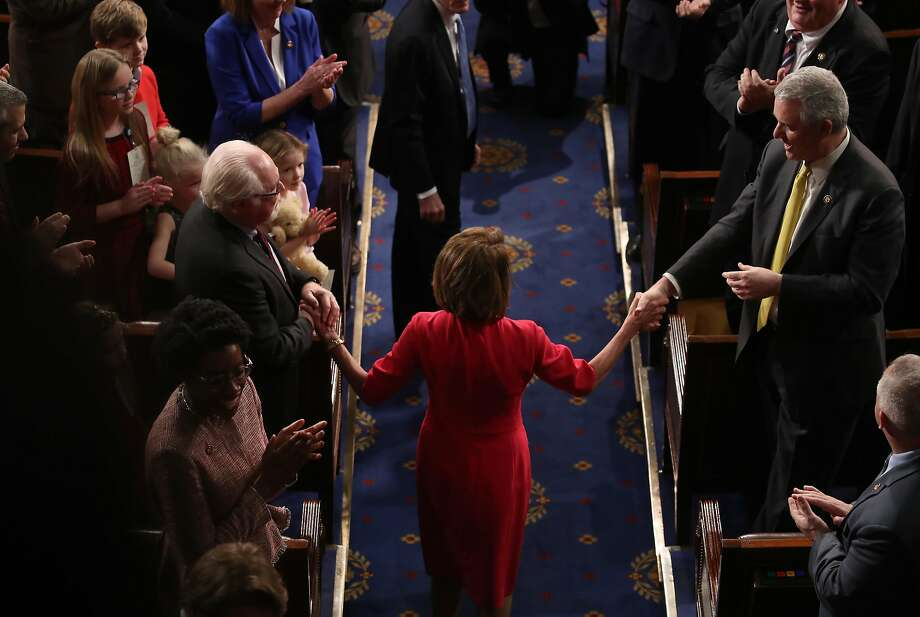 WASHINGTON, DC - JANUARY 3: House Speaker-elect Rep. Nancy Pelosi (D-CA) is introduced during the first session of the 116th Congress at the U.S. Capitol January 3, 2019 in Washington, DC. Under the cloud of a partial federal government shutdown, Pelosi will reclaim her former title as Speaker of the House and her fellow Democrats will take control of the House of Representatives for the second time in eight years. Photo: Mark Wilson / Getty Images
