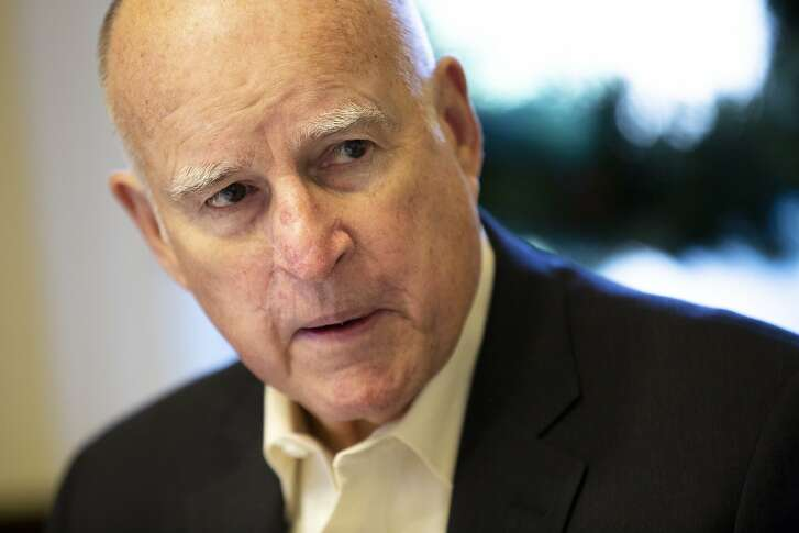 California Gov. Jerry Brown at the governor's mansion during an interview with the San Francisco Chronicle editorial board by phone and in person with the Chronicle's editorial page editor John Diaz (not pictured) on Thursday, Jan. 3, 2019, in Sacramento, Calif.