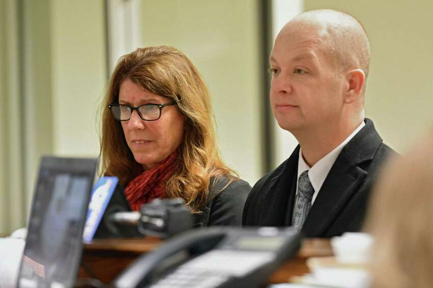 Troy City Council President Carmella Mantello, left, and her attorney William Roberts listen to Judge James Hughes during Mantello's arraignment on misdemeanor DWI charges at Clifton Park Town Court on Thursday, Jan. 3, 2019 in Clifton Park, N.Y. (Lori Van Buren/Times Union)