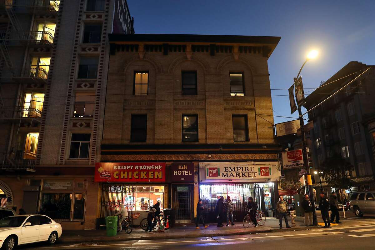 Corner of Eddy and Leavenworth Streets as new street lighting in the Tenderloin is unveiled in San Francisco, Calif. on Wednesday, January 2, 2019.