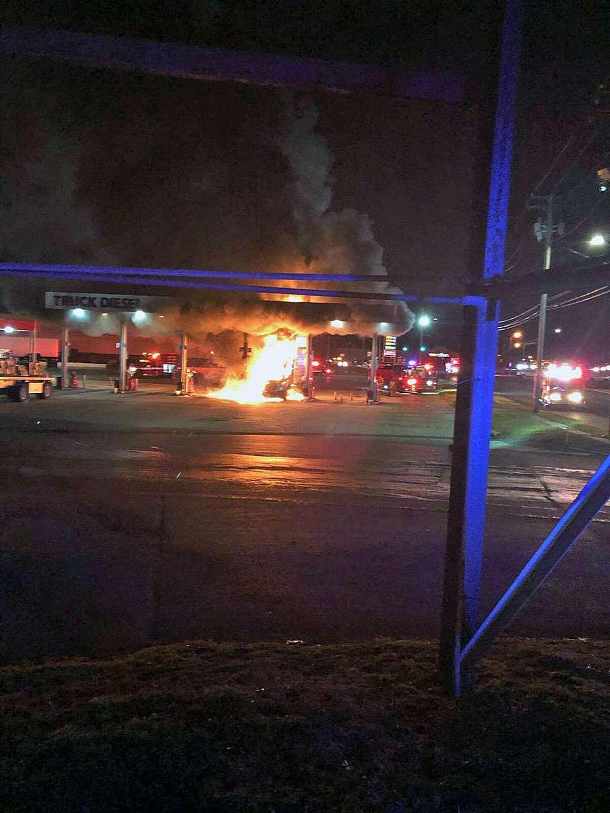 Truck fire in Milford, Conn., on Jan. 3, 2019.