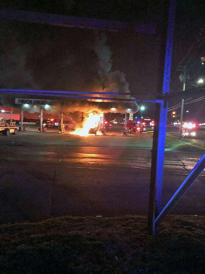 Truck fire in Milford, Conn., on Jan. 3, 2019. Photo: Contributed Photo / Milford Police Department / Contributed Photo / Connecticut Post Contributed