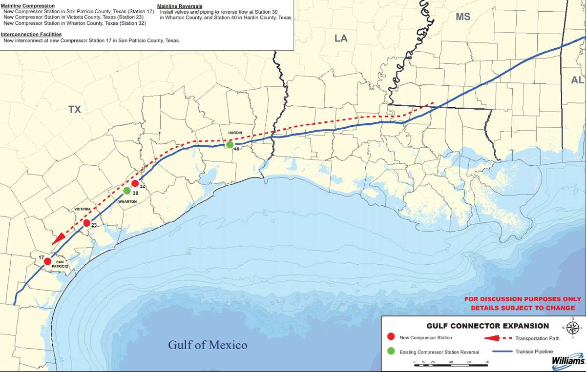 The Federal Energy Regulatory Commission has given Houston-based pipeline company Williams permission to begin service on an expansion project supporting two liquefied natural gas terminals along the Texas Gulf Coast.
