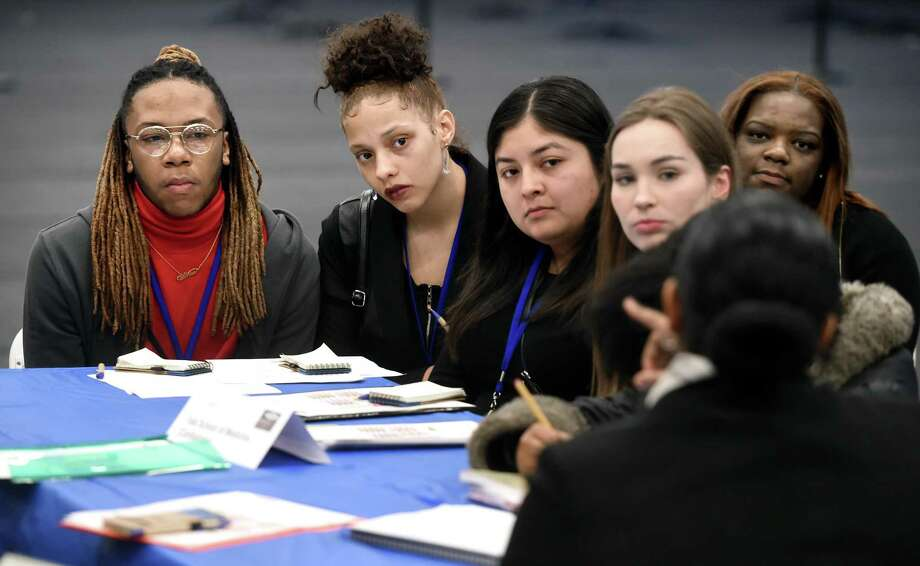 From left, Ahrtez Moore, Kelyce Brookshire, Monsserat Mendoza, Lilian Homann and Octavia Wright listen to a presentation about opportunities at the Yale School of Medicine during the New Haven Promise 2019 Internship Fair at Yale University's Lanman Center Thursday. Photo: Arnold Gold / Hearst Connecticut Media / New Haven Register