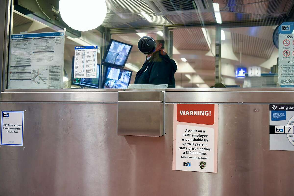 A BART station agent is seen in the booth at the 24th St. station in San Francisco, Calif., on Thursday, January 3, 2019.