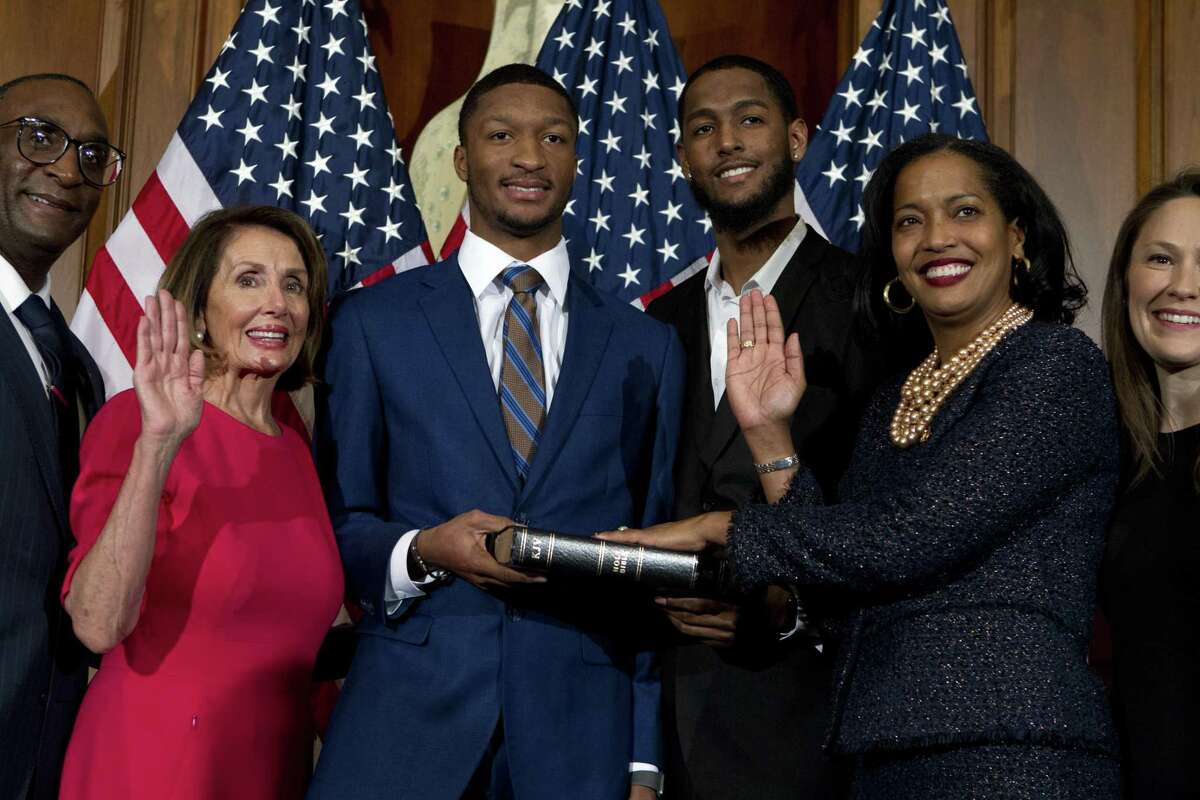 House Speaker Nancy Pelosi, D-Calif., administers the House oath of office to Rep. Jahana Hayes, D-Conn., during ceremonial swearing-in at the opening session of the 116th Congress on Capitol Hill in Washington on Thursday.