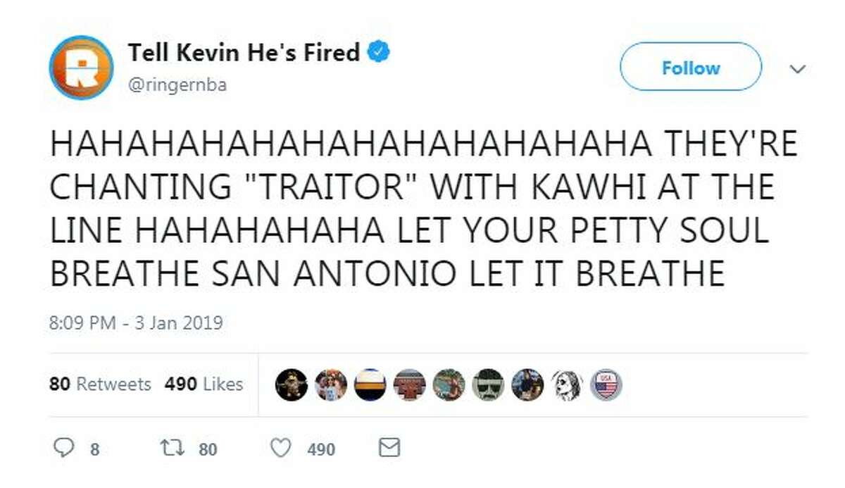 Twitter users react to Kawhi Leonard's reception as he returns to the AT&T Center as a Toronto Raptor Thursday, Jan. 3, 2019.