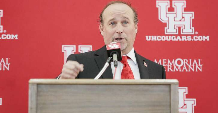 University of Houston's new head football coach, Dana Holgorsen, gives a speech during his press conference at TDECU Stadium on Thursday, Jan. 3, 2019 in Houston.