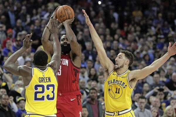 f37def82c701 1of8James Harden puts up game-winning three-pointer in the final seconds of  overtime to beat the Warriors at Oracle Arena.Photo  Carlos Avila Gonzalez    The ...