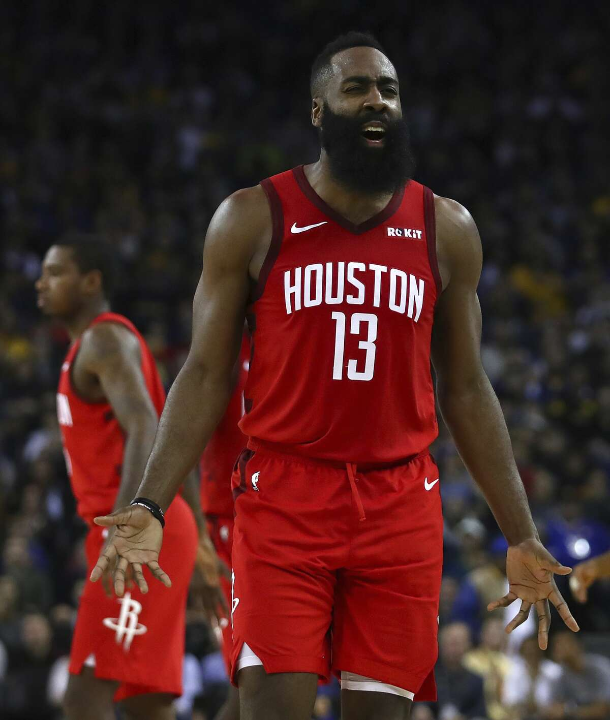 Houston Rockets' James Harden reacts during the second half of the team's NBA basketball game against the Golden State Warriors Thursday, Jan. 3, 2019, in Oakland, Calif. (AP Photo/Ben Margot)