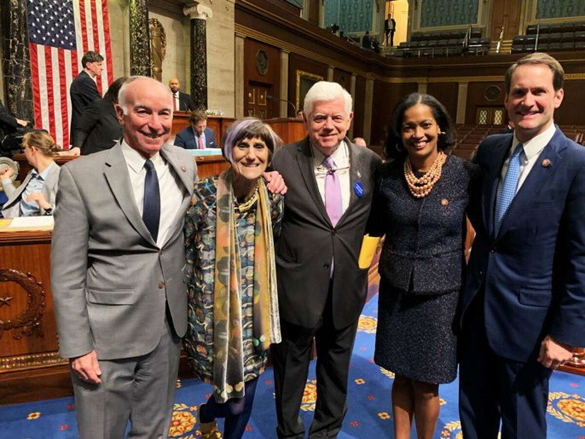 Connecticut's Congressional delegation, from left, Joe Courtney, Rosa DeLauro, John B. Larson, Jahana Hayes and Jim Himes at the opening session of the 116th Congress on Capitol Hill in Washington on Thursday, Jan. 3, 2018.