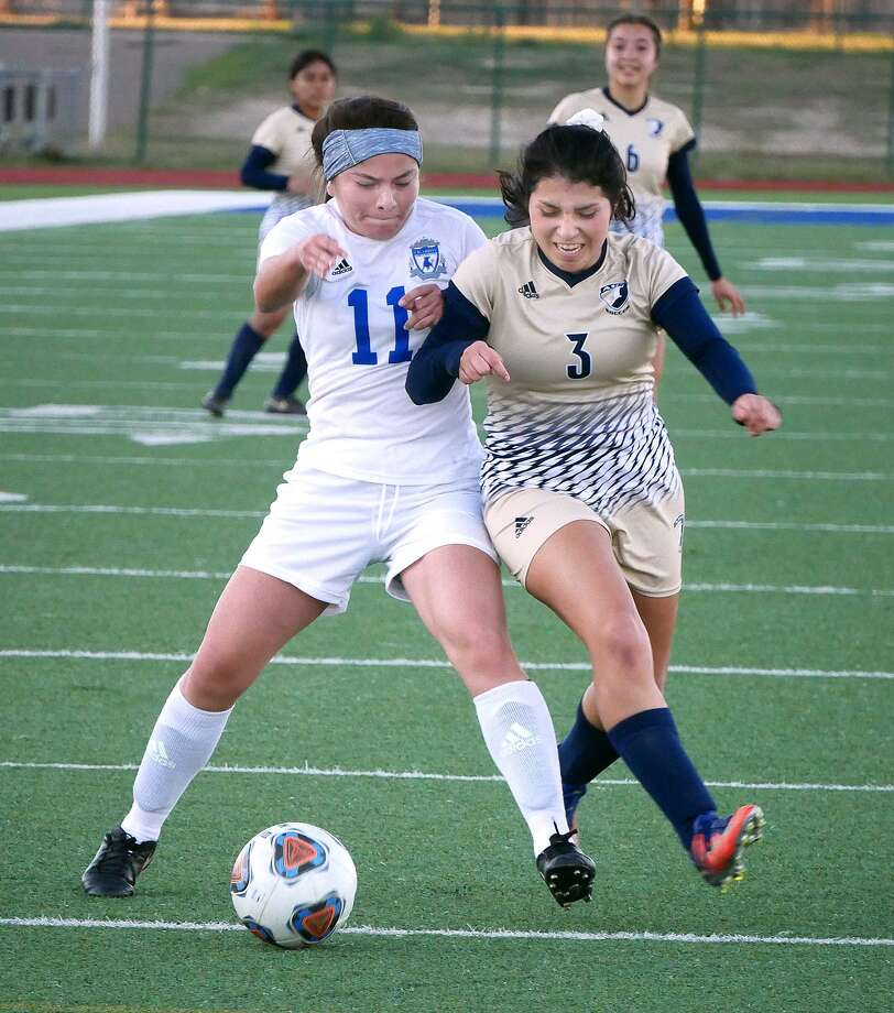 Marina Saldivar was one of five Alexander players to score Thursday as the Lady Bulldogs opened the 16th annual Border Olympics Tournament with a 5-0 victory over Claudia Menchaca and Cigarroa. Photo: Cuate Santos /Laredo Morning Times / Laredo Morning Times