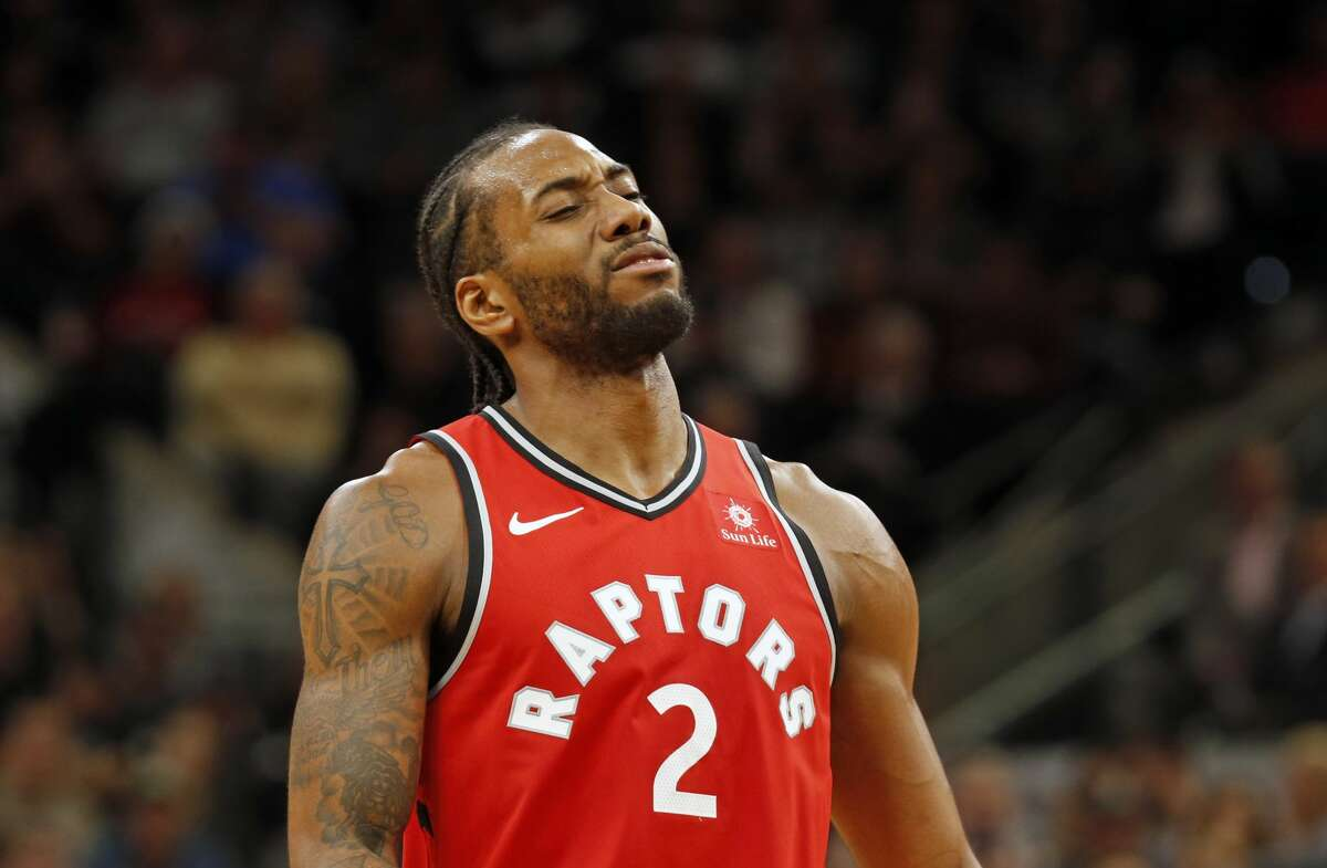 Kawhi Leonard #2 of the Toronto Raptors after missing a foul shot against the San Antonio Spurs at AT&T Center on January 3, 2019 in San Antonio, Texas.