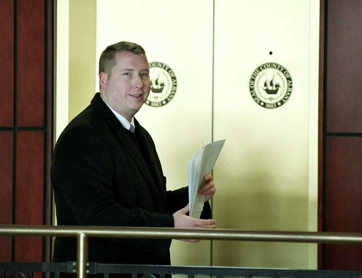 Robert Nickol, the former counsel for state Sen. William Larkin, R-Orange County, leaves the courtroom after being sentenced on Friday, Jan. 4, 2019, in Albany, N.Y. Nickol was sentenced to three years on probation after a jury in October found him guilty of misdemeanor assault for whipping his ex-girlfriend with an electric cord and slapping her in the face. (Will Waldron/Times Union)