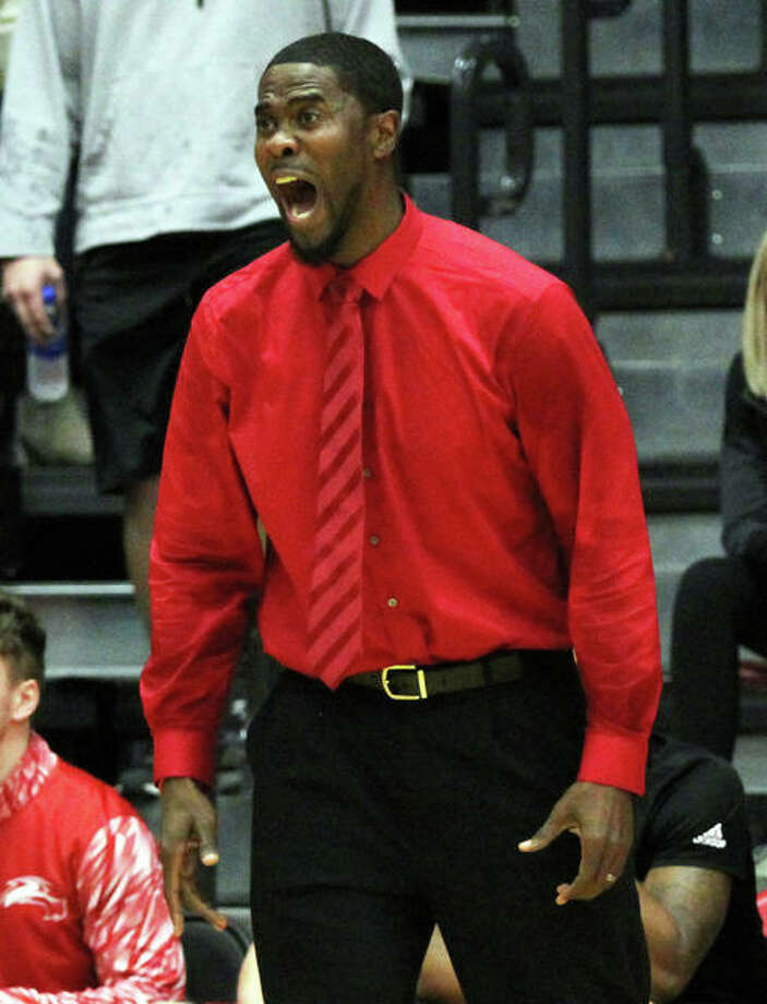 SIUE coach Jon Harris reacts to a play in a game earlier this season against SIUC at Vadalabene Center in Edwardsville. The Cougars were back home Thursday night and won their Ohio Valley Conference opener against Southeast Missouri. Photo: Greg Shashack / The Telegraph