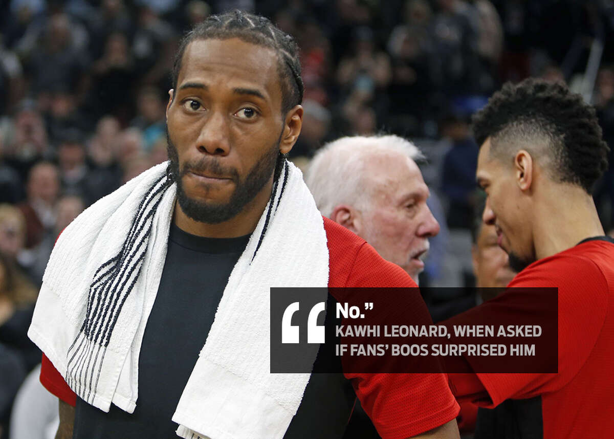 """""""No."""" -Kawhi Leonard Spurs fans' jeers were a hot topic of conversation after the Silver & Black's 125-107 victory over the Toronto Raptors on Jan. 3, 2018, in Kawhi Leonard's first visit back to San Antonio after being traded."""