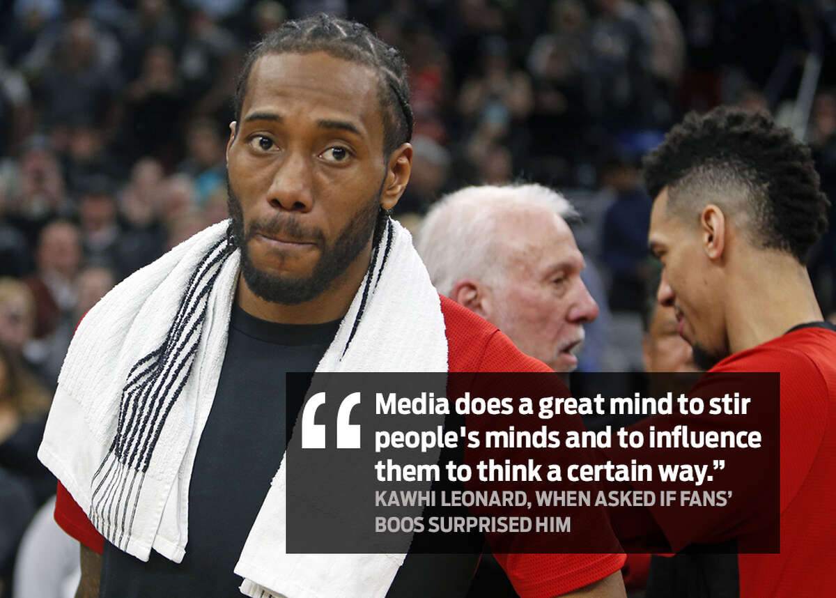 """""""Media does a great mind to stir people's minds and to influence them to think a certain way."""" -Kawhi Leonard Spurs fans' jeers were a hot topic of conversation after the Silver & Black's 125-107 victory over the Toronto Raptors on Jan. 3, 2018, in Kawhi Leonard's first visit back to San Antonio after being traded."""