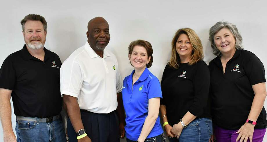 The Katy ISD Education Foundation and BP America Inc. recently celebrated BP's fifth year of support for the Foundation and its Inspiring Imagination teacher grant program. From left are: Bob McAuliffe, Katy ISD Education Foundation board of directors; Larry Thomas, BP senior director, Communications and External Affairs; Marta Vasel, BP vice president, Global Account Management, BP Upstream Procurement; Tara Wilson and Chris Crockett, both on the Katy ISD Education Foundation board of directors. Photo: Katy ISD Education Foundation / Katy ISD Education Foundation