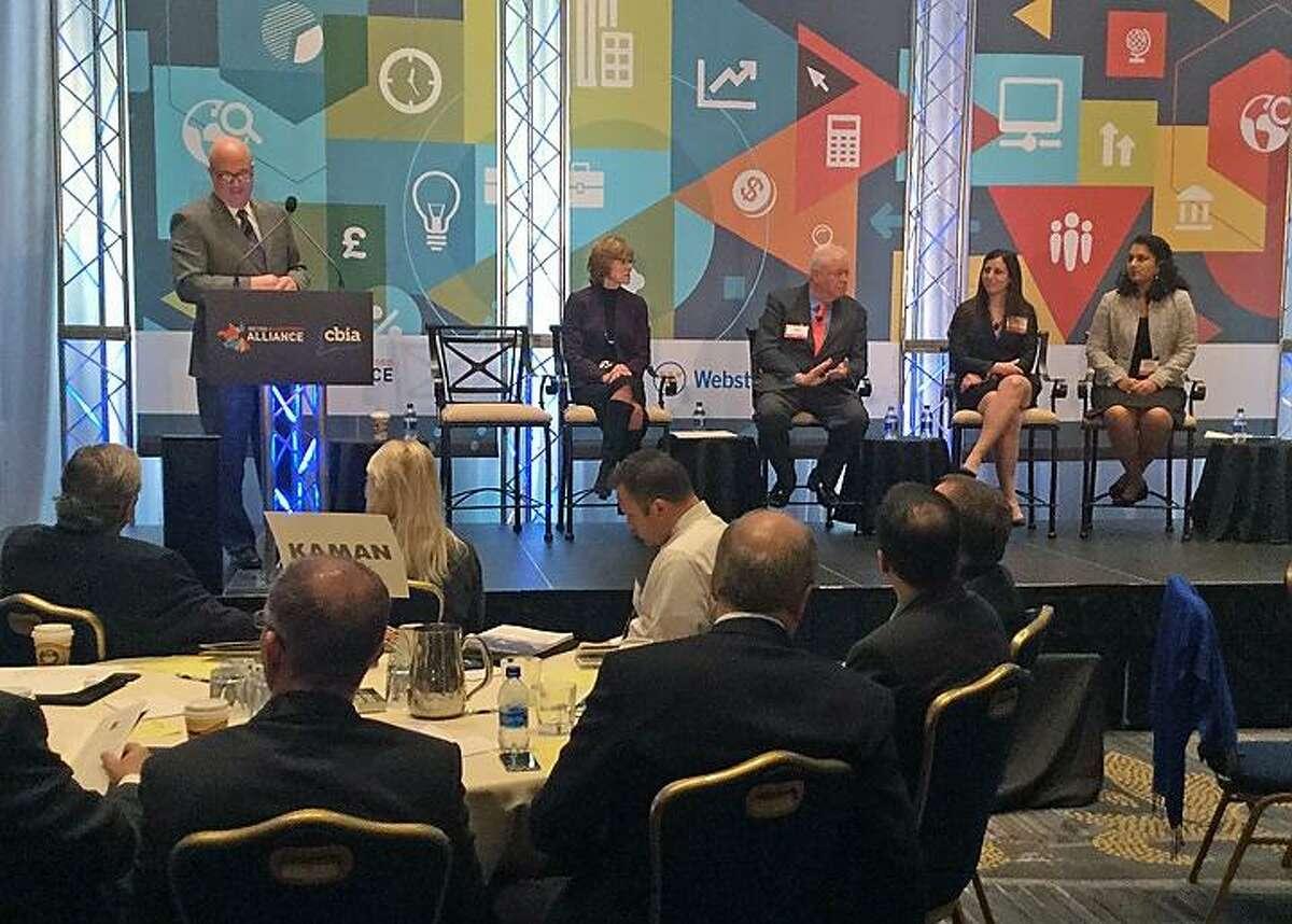 Business panelists, from left, Susan Coleman, Peter Gioia, Emily Mandel and Manisha Srinivasan.