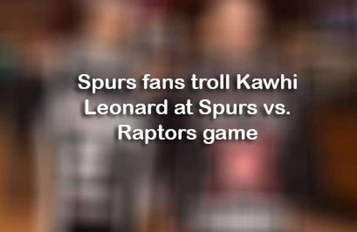 Click ahead to see all ways Spurs fans trolled Kawhi Leonard at the Spurs vs. Raptors game.>>>