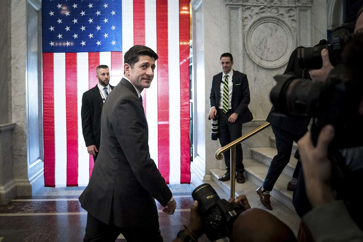 Outgoing House Speaker Paul Ryan (R-Wis.) departs after delivering a farewell speech at the Library of Congress in Washington, Dec. 19, 2018. (Erin Schaff/The New York Times)