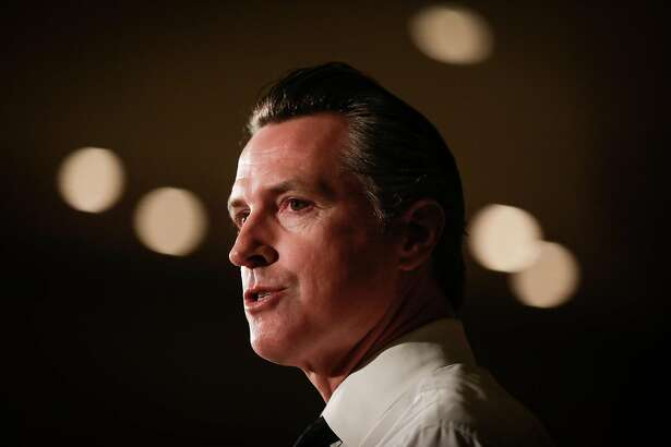 Gavin Newsom speaks at Willie Brown's annual breakfast at the Fairmont Hotel in San Francisco, California, on Tuesday, Oct. 30, 2018. Newsom is in the last few days of running his campaign for governor.