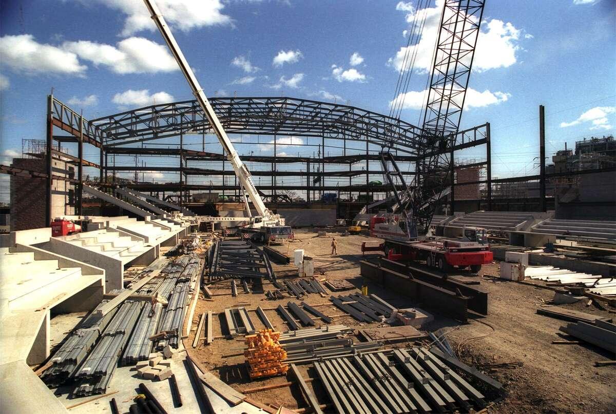 The Arena at Harbor Yard in Bridgeport, under construction in October 0f 2000.