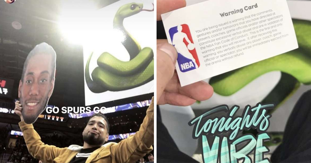 Spurs Fan With Kawhi Leonard Snake Emoji Posters Issued An Nba