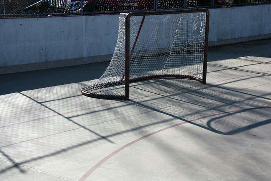 The concrete playing surface of the Township Community Park skating rink was repaired last spring and awaits recreational skaters or inline hockey players.