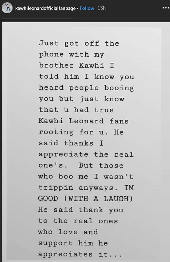 """He said thanks I appreciate the real one's,"" she shared in a note  shared to the page's Instagram Story feature. ""But those who boo me I  wasn't trippin anyways. IM GOOD (WITH A LAUGH) He said thank you to the  real ones who love and support him he appreciates it..."" Photo: Instagram Screengrab"