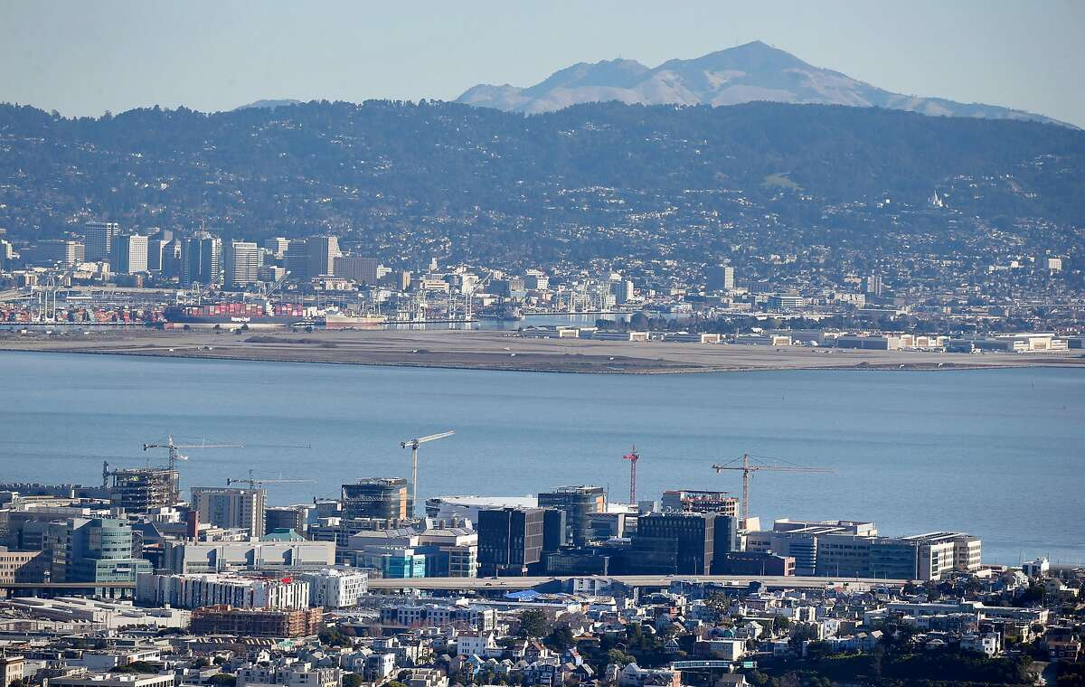 Mount Diablo rises above Oakland, the East Bay Hills and the Mission Bay neighborhood (foreground) as seen from the summit of Twin Peaks in San Francisco, Calif. on Tuesday, Jan. 1, 2019.