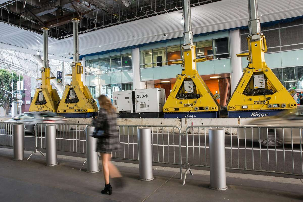 Damaged section of the Transbay Transit Center in San Francisco bolstered by heavy equipment last month.