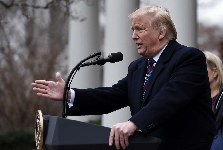President Trump discusses negotiations over the partial government shutdown in the Rose Garden of the White House. The impasse over funding for construction of a wall at the border is entering its third week. Photo: Olivier Douliery / Tribune News Service