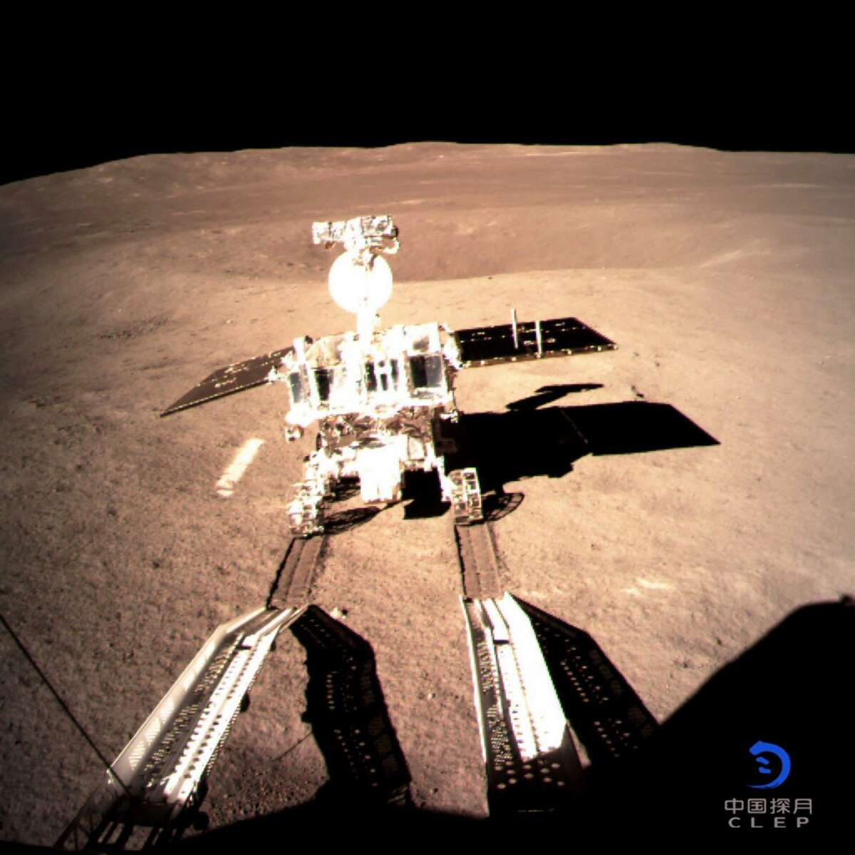 """This picture taken on January 3, 2019 and received on January 4 from the China National Space Administration (CNSA) via CNS shows a robotic lunar rover on the """"dark side"""" of the moon. - A Chinese lunar rover landed on the far side of the moon on January 3, in a global first that boosts Beijing's ambitions to become a space superpower. (Photo by China National Space Administration (CNSA) via CNS / China National Space Administration (CNSA) via CNS / AFP) / China OUTCHINA NATIONAL SPACE ADMINISTRAT/AFP/Getty Images"""