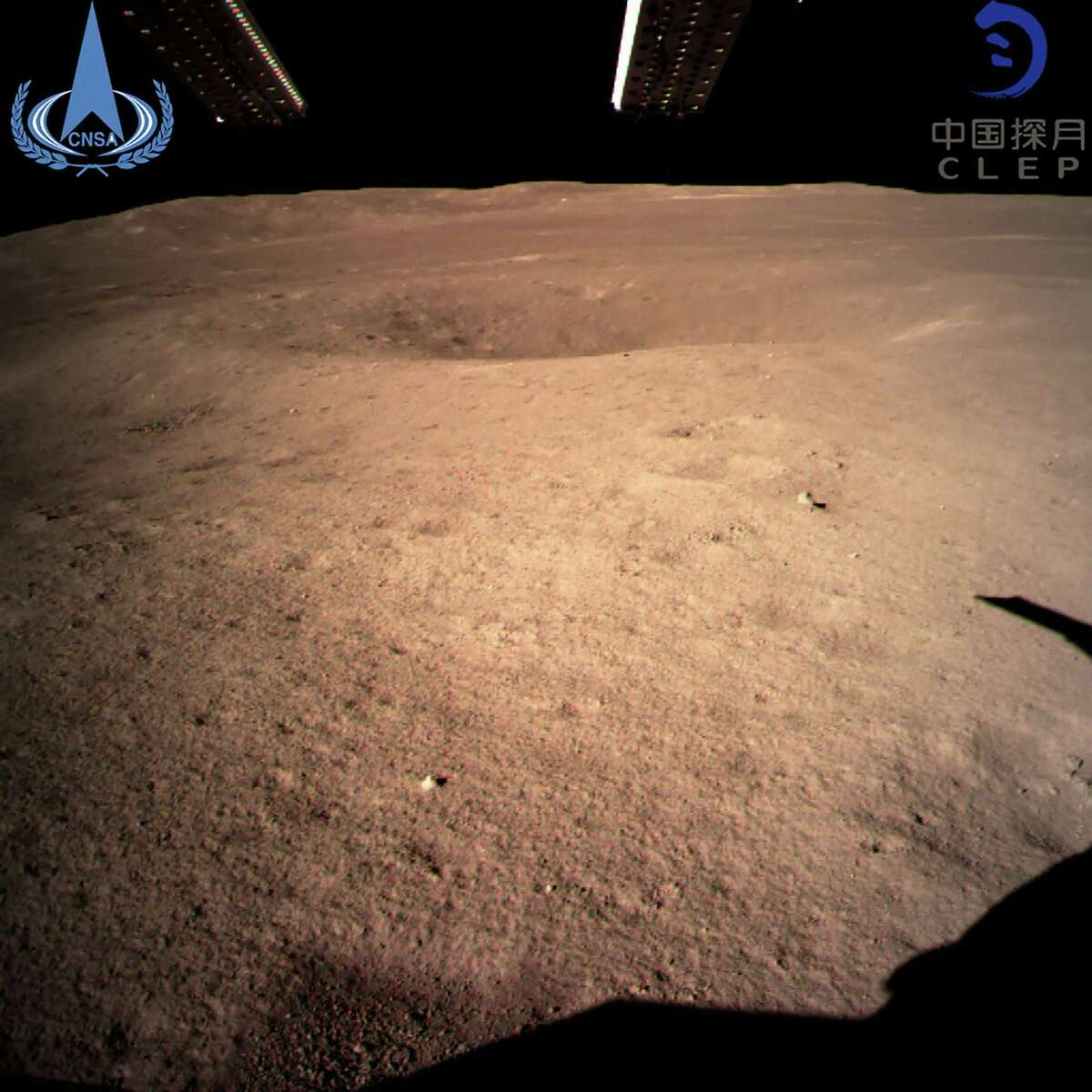 """This handout picture taken by the Chang'e-4 probe and released by China National Space Administration on Jan. 3, 2019 shows an image of the """"dark side"""" of the moon. A Chinese lunar rover landed on the far side of the moon on Jan. 3, in a global first that boosts Beijing's ambitions to become a space superpower."""