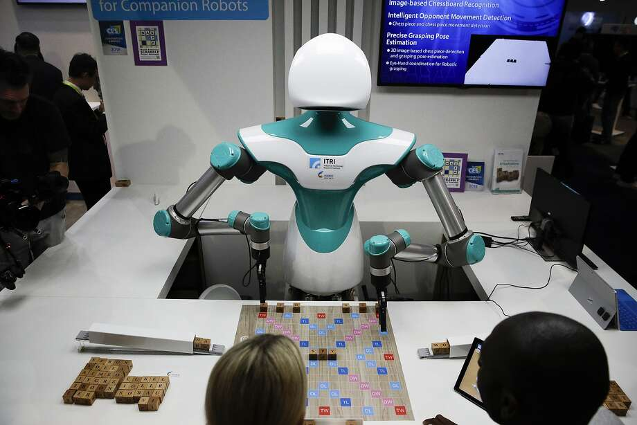 The Industrial Technology Research Institute's companion robot plays Scrabble with attendees at CES International, Wednesday, Jan. 10, 2018, in Las Vegas. (AP Photo/Jae C. Hong) Photo: Jae C. Hong / Associated Press