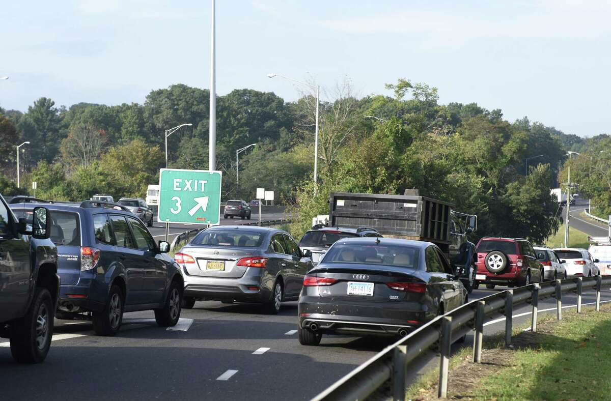 FILE PHOTO - Traffic backs up from the I-95 exit ramp southbound at Exit 3 in Greenwich, Conn. during the morning rush hour on Wednesday, Oct. 10, 2018.