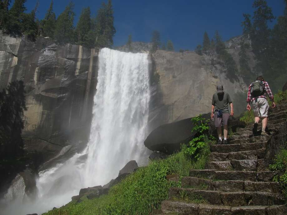 An unidentified hiker was pronounced dead from a head wound where he apparently fell ona sloping slab of granite near Vernal Fall, Yosemite National Park officials said Friday, Jan. 4, 2019. Photo: Gosia Wozniacka / AP