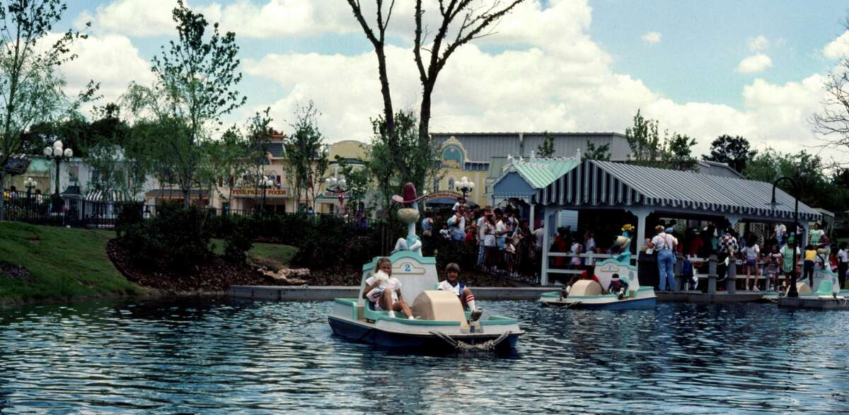 1984 Larry Syverson: Hanna Barbera Land was located in the northern suburbs of Houston, TX. It was only open in 1984 and 1985. We went both seasons. Quick Draw McGraw and Huckleberry Hound paddle boats. The photo was taken in August 1984.