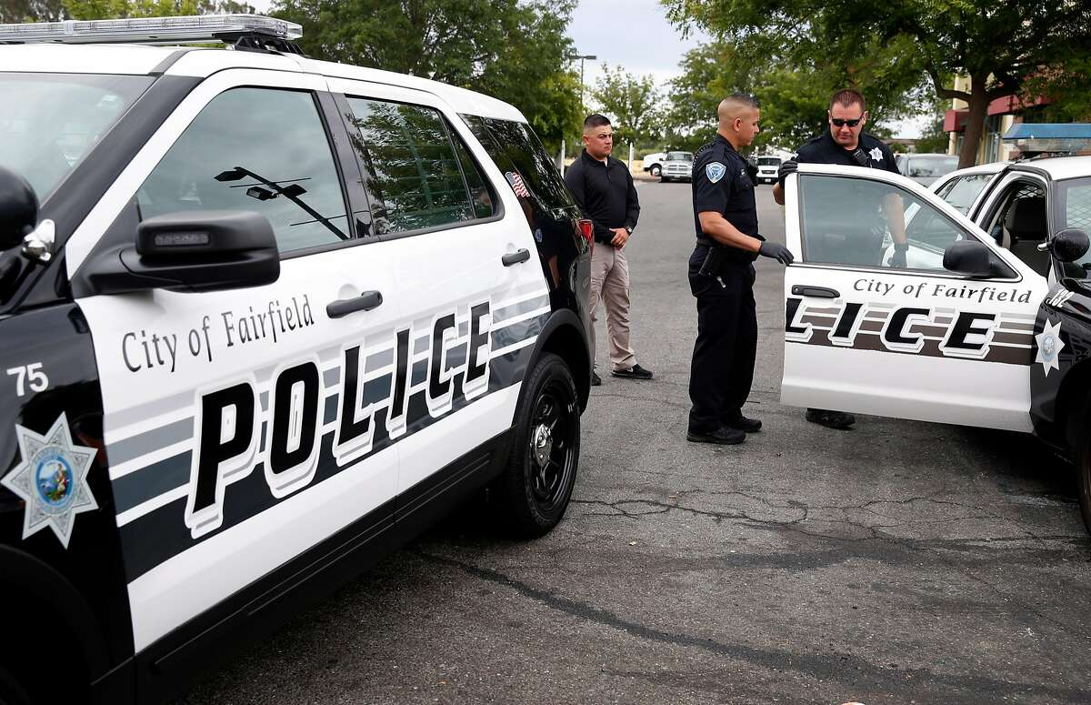 Police officer Elias Castro (center) responds to a burglary call in Fairfield, Calif. on Friday, July 6, 2018. Homicide rates have declined throughout the Bay Area including Fairfield, the county seat of Solano County.