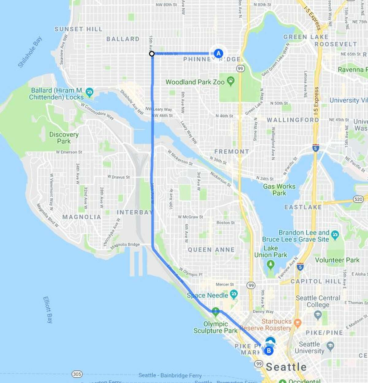 A super easy, but likely popular bypass: using 15th Avenue Northwest and the Ballard Bridge to get downtown from northwest Seattle.