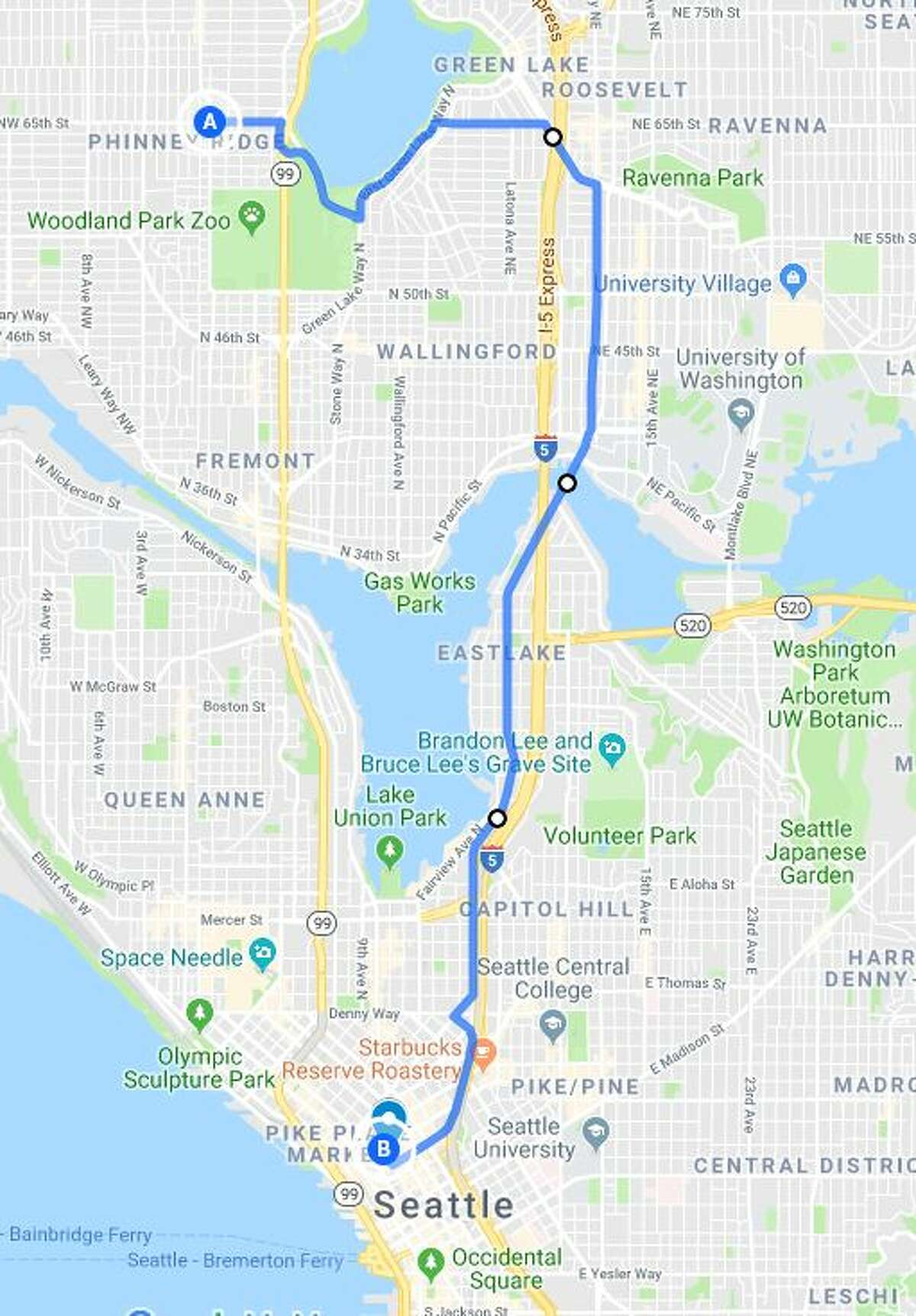 From northwest Seattle you can also hug Green Lake until you get to Ravenna, then use Roosevelt Way Northeast to the University Bridge and Eastlake Avenue East to get downtown.