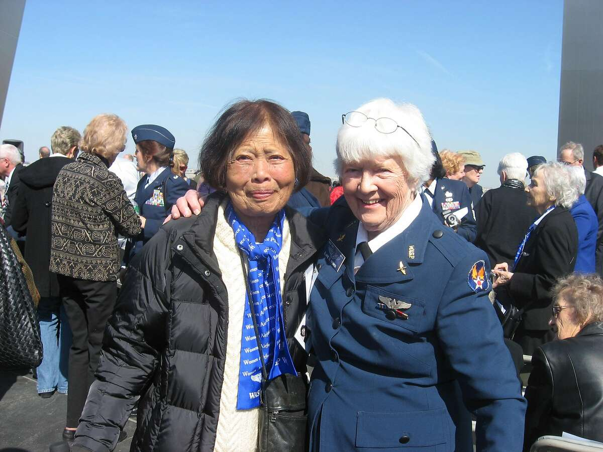 Maggie Gee, left, is pictured with Elaine Danforth Harmon. They were photographed at a 2010 event in Washington, D.C. in which the two women, as well as other members of the Women Airforce Service Pilots, or WASPs, were recognized with Congressional gold medals.